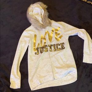 Girls zip up Justice Hoodie